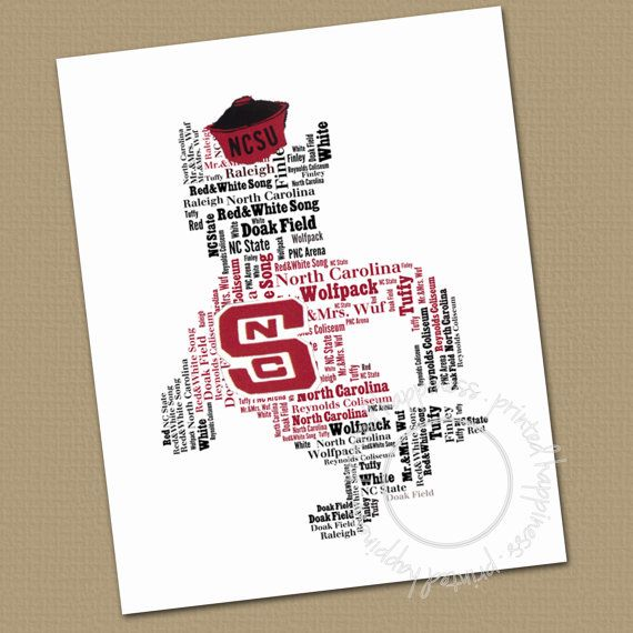 Nc State Mascot Wall Art Office Art Typography Word Cloud Choose Color Gift For Your Favorite Man On Etsy 1 State Wall Art Nc State Office Wall Art