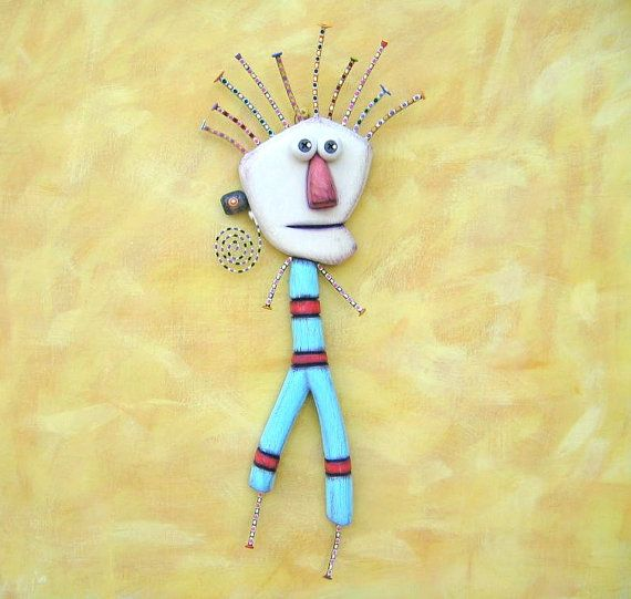 Stick Figure, Original Found Object Sculpture, Wall Art, Wood ...