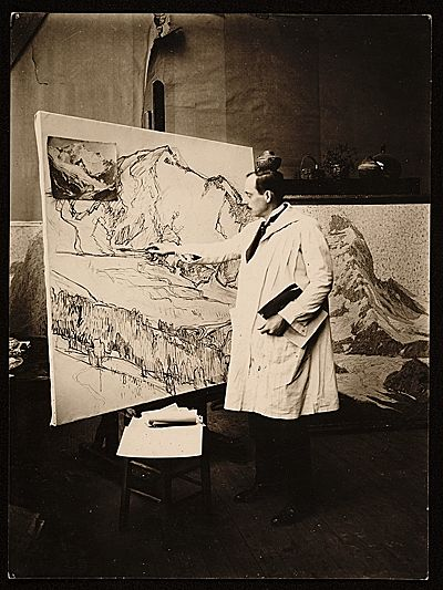 Here is Edgar Payne in his studio when he lived in Paris in the 1920′s–working from a photograph.