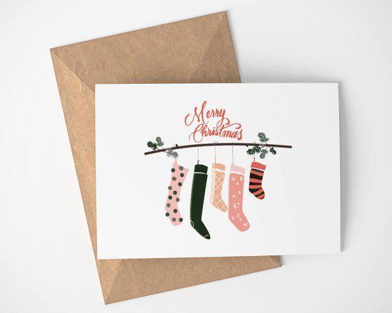 Christmas Card Merry Christmas - Stockings - Holiday Card