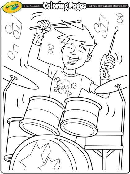 Drummer On Crayola Com Free Coloring Pages Music Coloring Coloring Pages