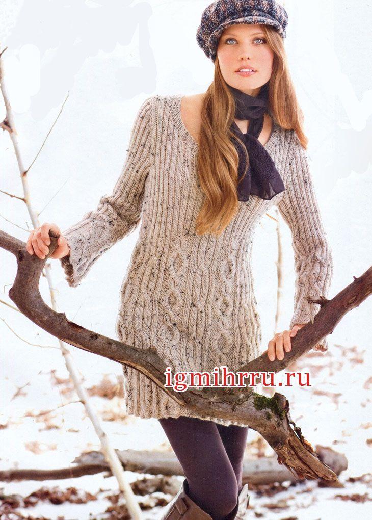 142887148c3 Туника с длинными рукавами и узором из кос и резинки. Вязание спицами