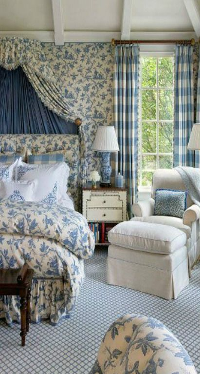 extraordinary country style bedroom white | We love this blue and white European classic style bedroom ...
