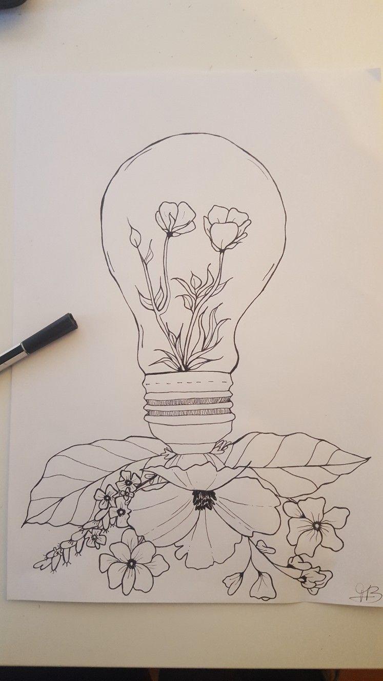 Lamp Flowers Drawing Flower Drawing Flower Lamp Bullet Journal Mood