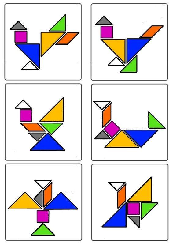 tangram - oiseaux planche n°3 - wiskunde, vogels en onderwijs