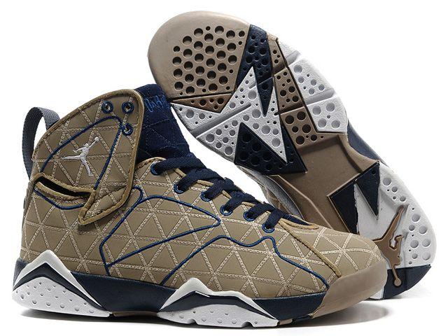 Cheap Air Jordans 7 Basketball Shoes KhakiBuleWhite For SaleCheap Jordans
