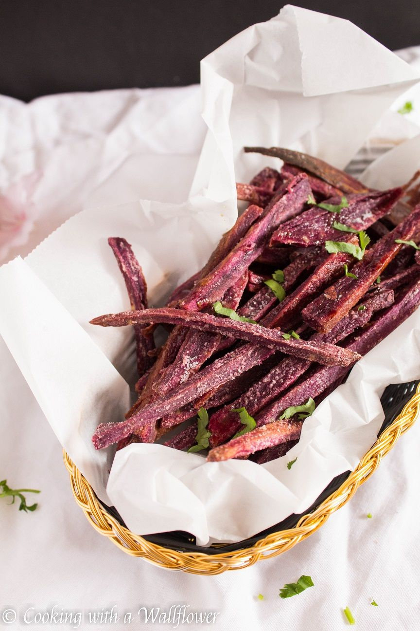 Baked Maple Purple Yam Fries