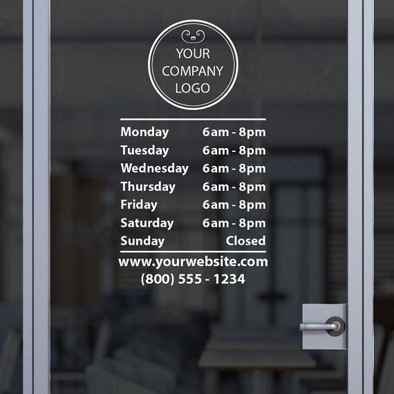 Custom business open hour sign with logo ver 21 oracal 651 vinyl decal for office shop salon restaurant studio store hours sticker