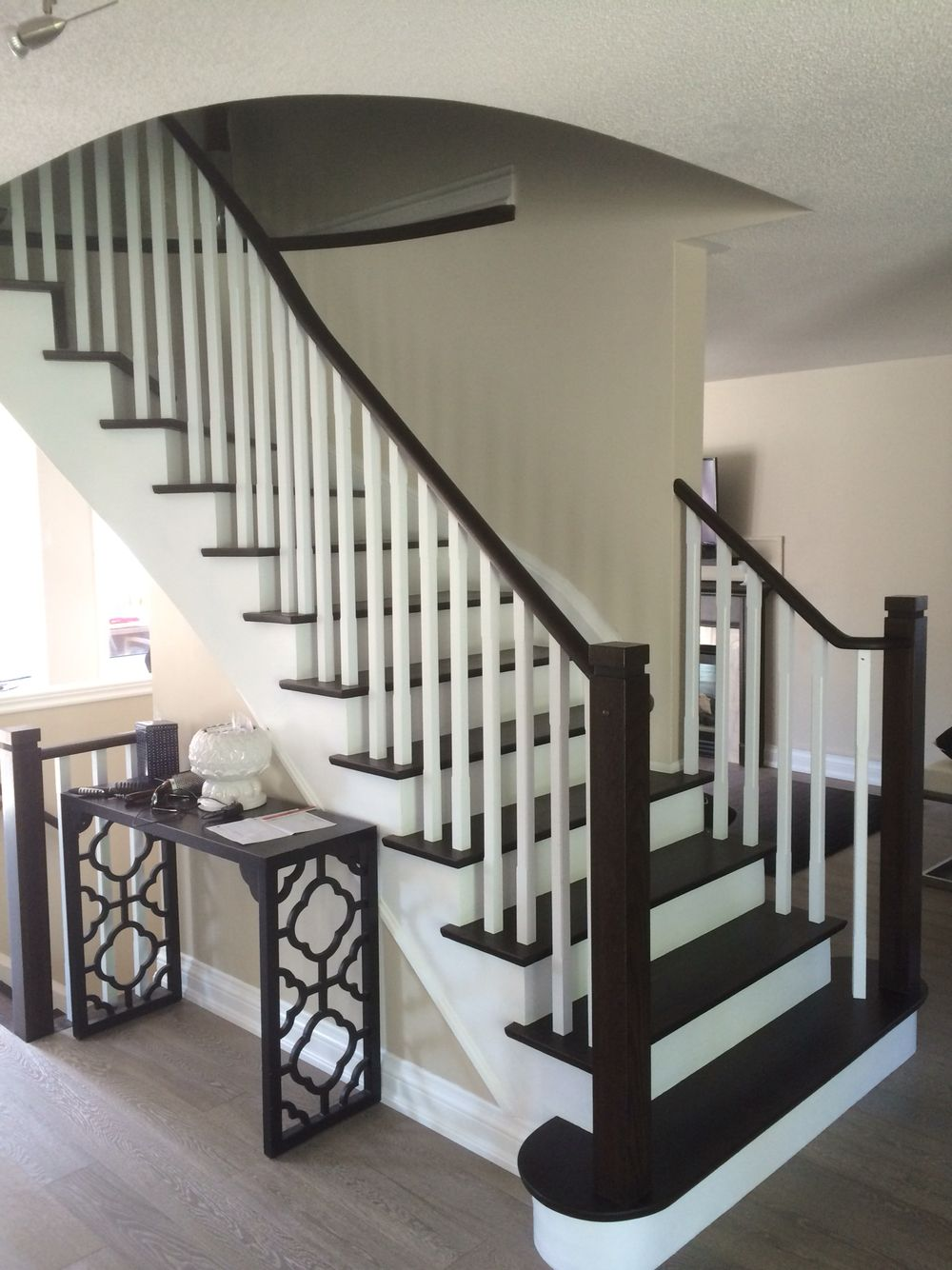 Best A Unique Combination Of Grey Floors And Accented Stair 400 x 300