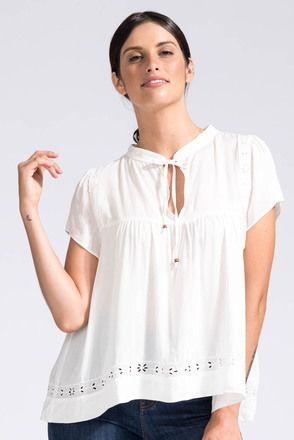 Embellished Boho Top in White