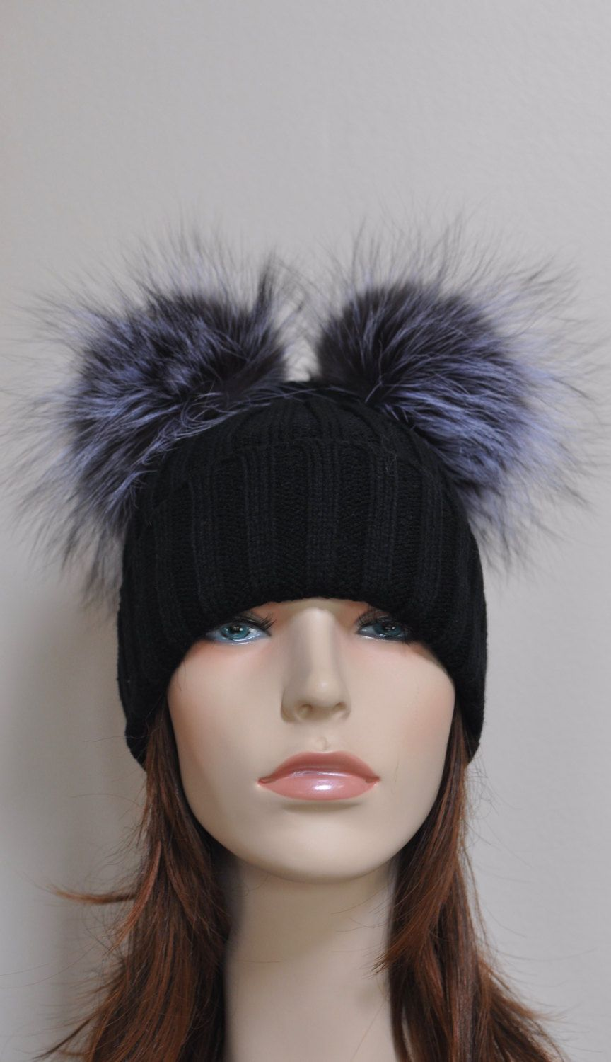 Kylie Jenner Beanie Hat 2 Fur pompoms Ribbed Beanie Black Hat Double  Bobbles… d10abbf14e6
