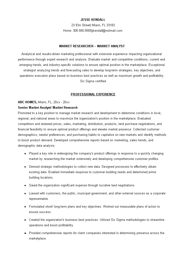Sample Marketing Researcher Analyst Resume How To Draft A Marketing Researcher Analyst Resume Download This Sample Download Resume Resume Templates Analyst