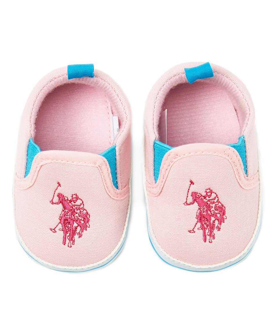 Another great find on #zulily! U.S. Polo Assn. Light Pink & Blue Logo Slip-On Crib Shoe by U.S. Polo Assn. #zulilyfinds