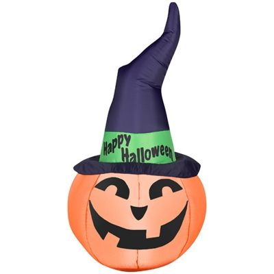 Airblown Inflatable Outdoor Pumpkin with Witch Hat #happyhalloween - halloween inflatable decorations