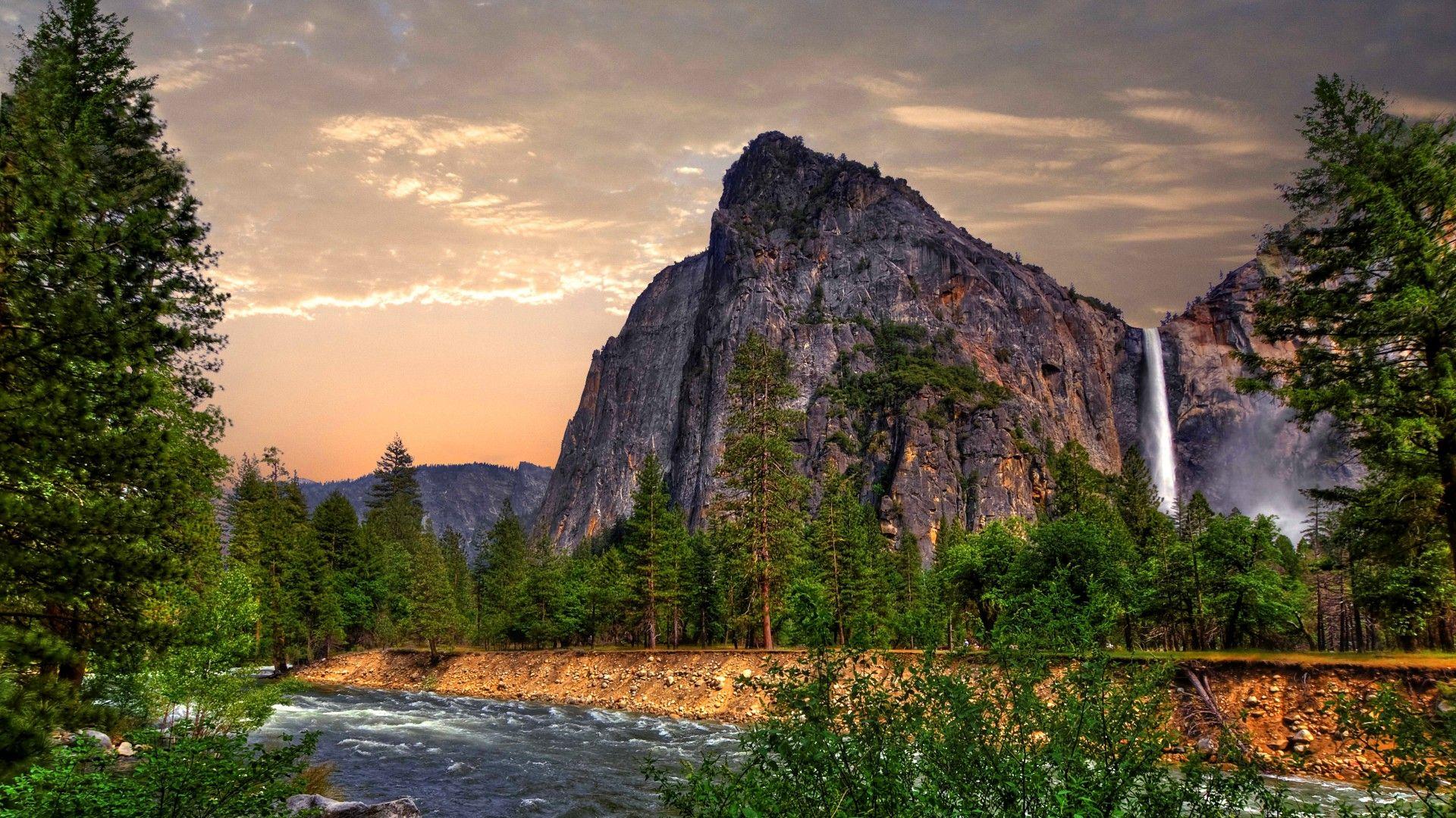 Обои Эпл, 5k, 4k, 8k, лес, горы, водопад, Yosemite, 5k, 4k