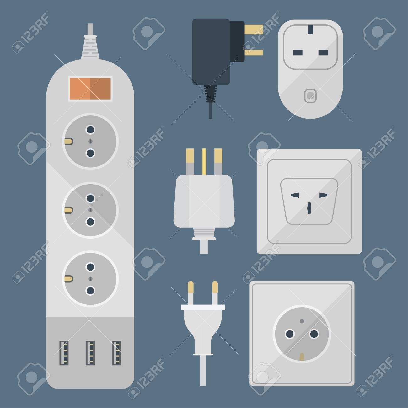 Electric Plugs Stack Outlet Illustration Energy Socket Electrical Outlets Plugs European And Usa Asia Appliance Interior Icon Wire Cable Cord Plug Connection