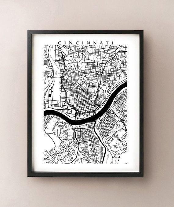 Cincinnati Map - Ohio Poster Print - Black and White - Miami University, Northern Kentucky University