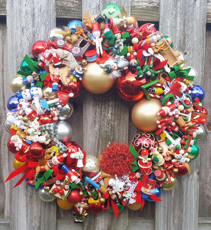 Vintage Nostalgic Wood Glass Ornament 24 Christmas Holiday Wreath Hand Crafted Ornament Wreath Chr Christmas Ornament Wreath Holiday Wreaths Ornament Wreath
