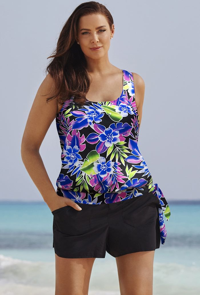 d394ad77ae Shop All - Beach Belle Brisbane Blouson Cargo Shortini. Find this Pin and  more on Clothing by denettesturm. Plus size tankini swimsuits ...