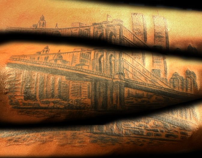 Brooklyn Bridge Sleeve Tattoo by BLTNYC Tattoo Shop Queens  #nyctattoo #sleevetattoo #brooklynbridge