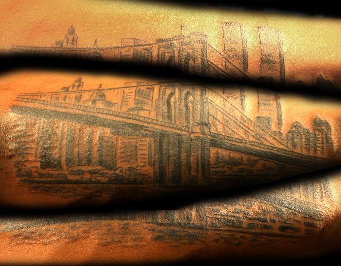 Brooklyn Bridge Sleeve Tattoo by BLTNYC Tattoo Shop Queens  #nyctattoo #sleevetattoo #brooklynbridge