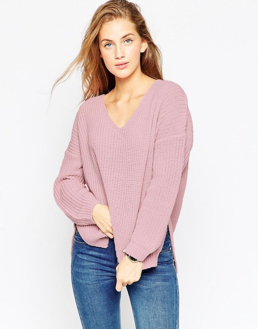 Jersey rosa grueso con cuello de pico
