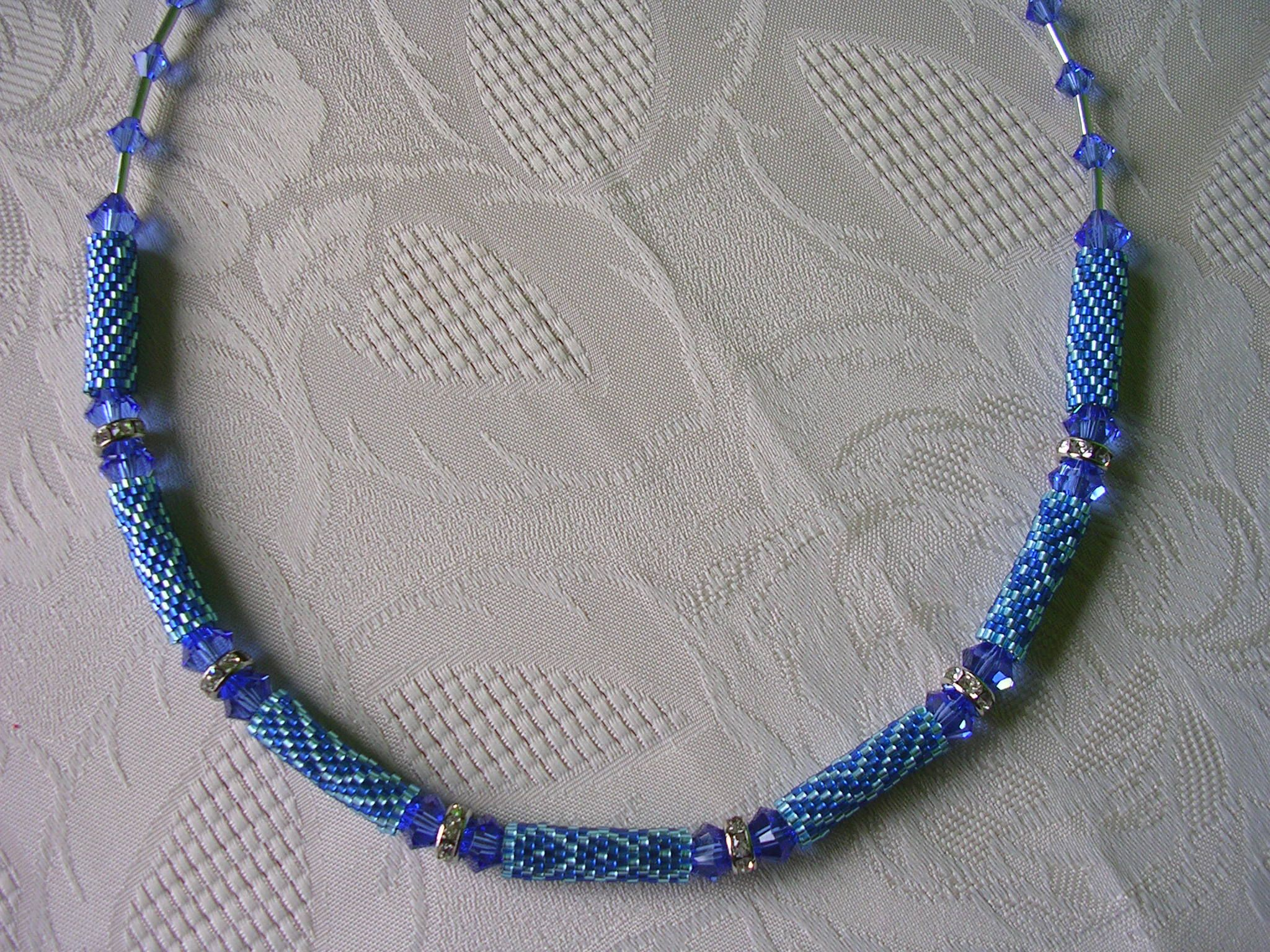 Kette Peyote Zylinder, blau