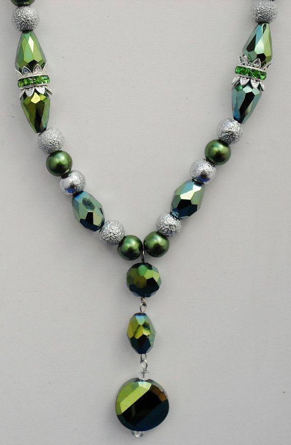 Swarovski OOAK green crystal silver handcrafted by ElmsRealm, $38.00
