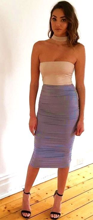 9ff65bc6e6 #summer #kookai #australia #outfits Nude Top Ruched Grey Midi Skirt - more