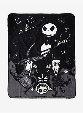 """The holidays are coming. Curl up in this soft, warm and cuddly throw blanket from Tim Burton's  The Nightmare Before Christmas.  Design features an image of Jack Skellington recruiting the help of Halloween's finest trick-or-treaters, Lock, Shock and Barrel.   48"""" x 60""""  100% polyester  Wash cold; dry low  Imported"""
