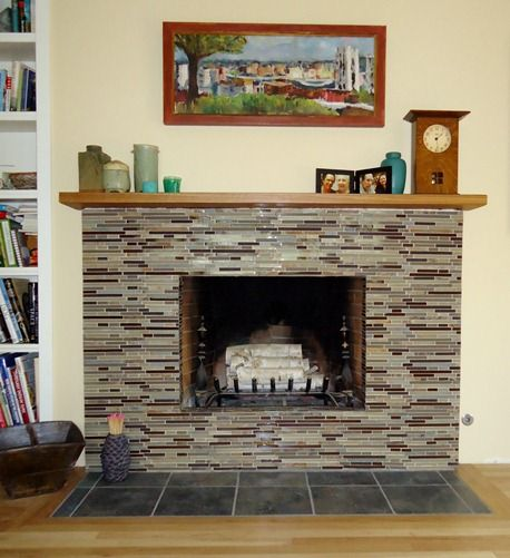 Fireplace redo for the home brick fireplace fireplace - Tile over brick fireplace ...