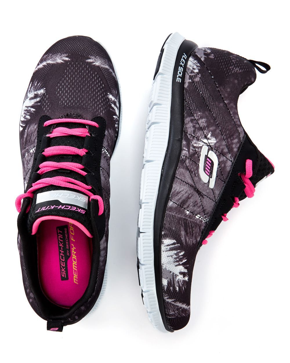 be4fa810c33a Stay fit and fabulous with these original wide-width sneakers from Skechers.  Feature a stylish print
