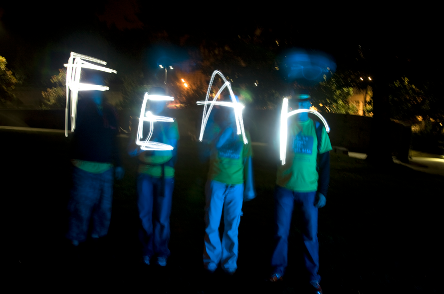 Maggies Night Hike 2008 Installation - Fear - Interactive projection lighting
