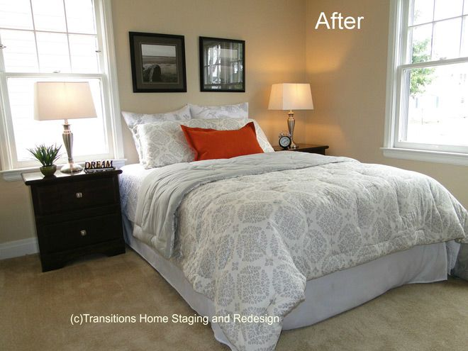 No Headboard bedroom in neutral shades - no headboard | home staging ideas