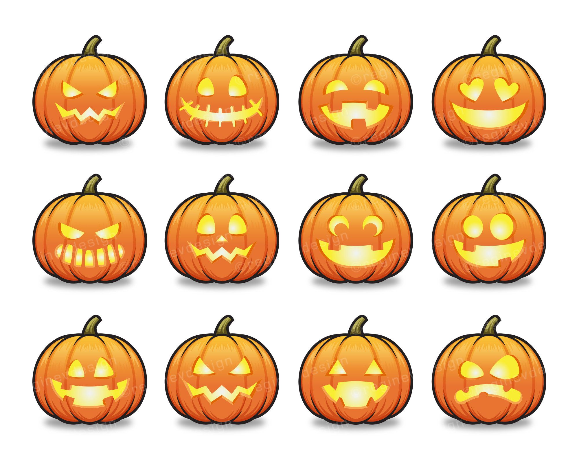 Halloween Jack o' Lantern Clipart, Scary Pumpkin Cartoon