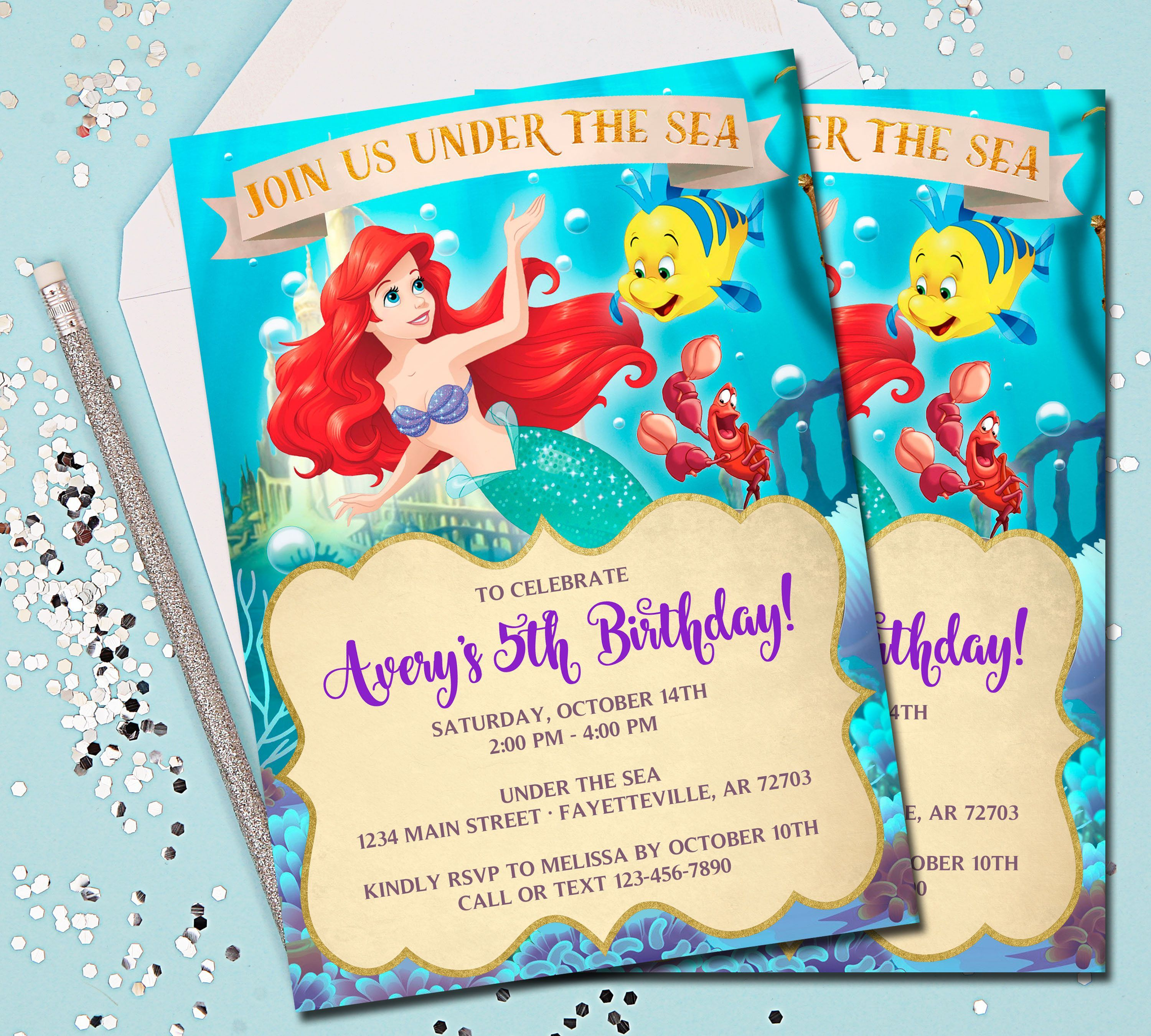 Little Mermaid Birthday Invitations With Picture | Party Invitations ...