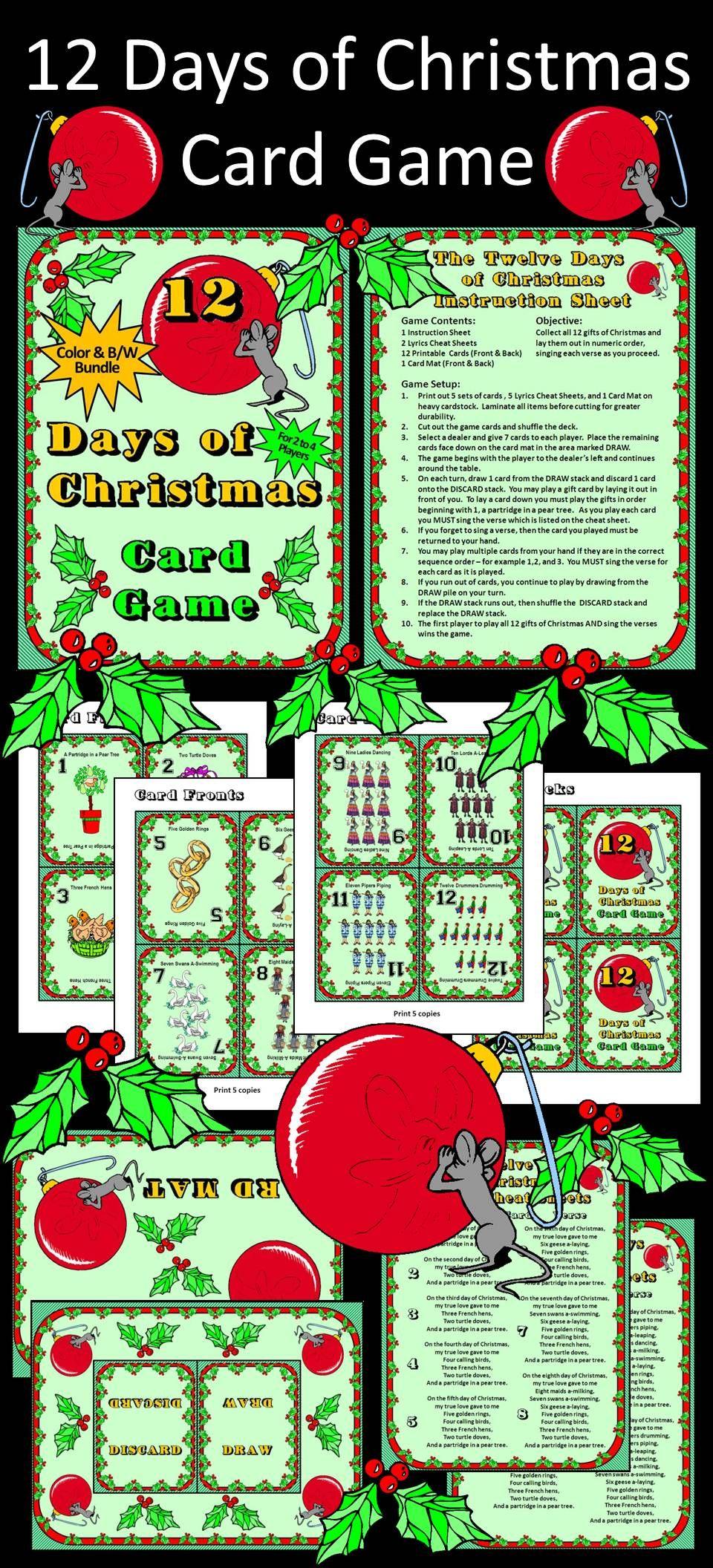 Christmas activities 12 days of christmas card game