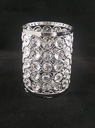 Elegant Glass Crystal Beaded Votive or Tea Light Candle Holder Romantic Ambience Wedding Centerpiece 45 Inch -- Continue to the product at the image link.Note:It is affiliate link to Amazon.