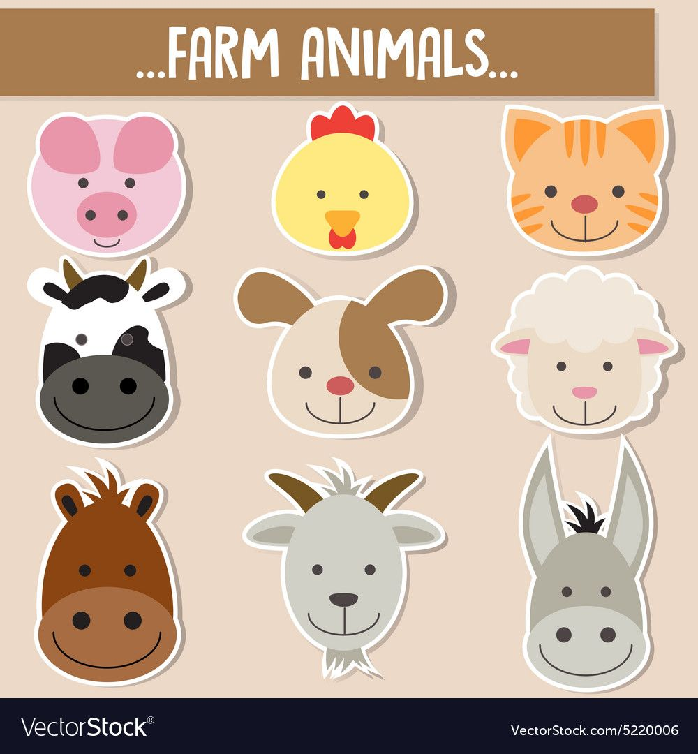 Set Of Animal Facesfarm Animals Download A Free Preview Or High Quality Adobe Illustrator Ai Eps Pdf And H Animal Faces Farm Animals Farm Animal Nursery Art