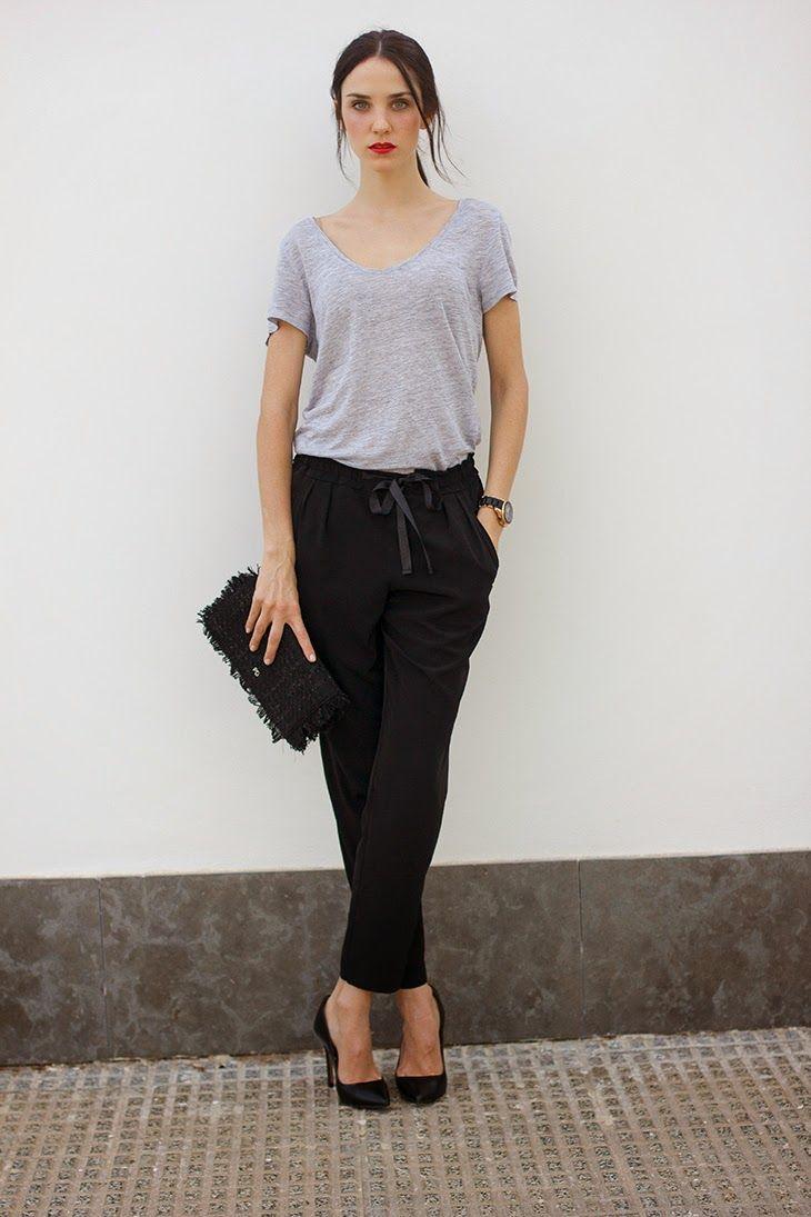 Black t shirt grey pants - Grey Tee Black Loose Pants More