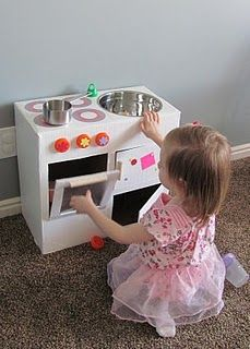 How to make a play kitchen from a diaper box! | Diy kids ...