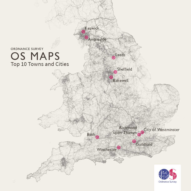 top ten cities and towns in britain with the most routes in os maps map
