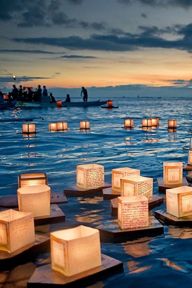 Floating Lanterns. Great idea for a lake wedding.