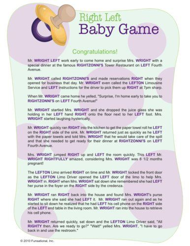 Right left and many more printable baby shower games