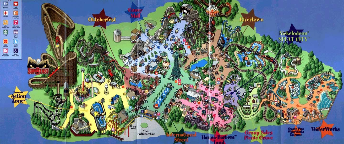 Paramounts Kings Island  Map Project Pinterest King - Map of us water parks