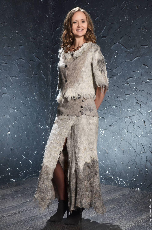 Купить Шкура не убитого барана - серебряный, абстрактный, ручная авторская работа, валяный костюм
