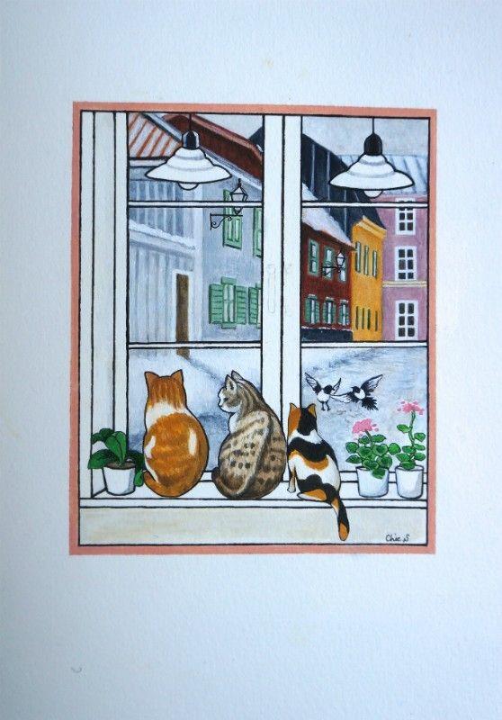 Vykort-Tre katter-