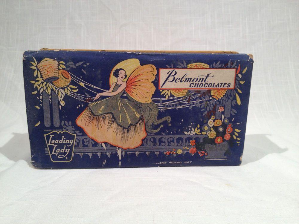 BEAUTIFUL ANTIQUE BELMONT CHOCOLATES CANDY BOX, LEADING LADY DESIGN, Ca. 1920s #BelmontChocolateCompany