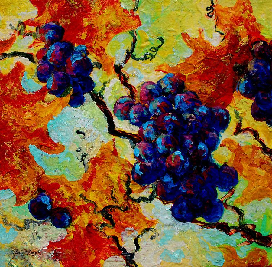 Grapes Mini Painting by Marion Rose