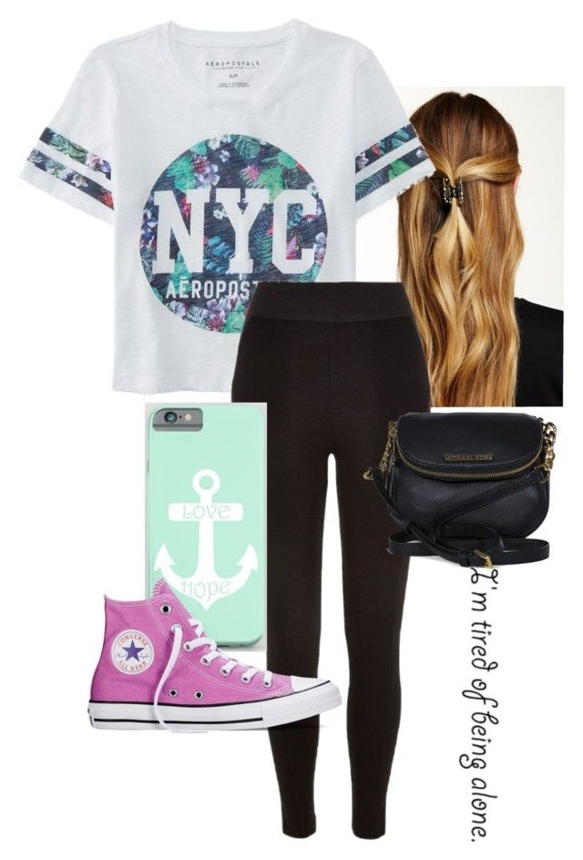 """""""hey! (read d please)"""" by queen-hstyles ❤ liked on Polyvore featuring Natasha Accessories, Aéropostale, River Island, Converse, Michael Kors, women's clothing, women, female, woman and misses"""